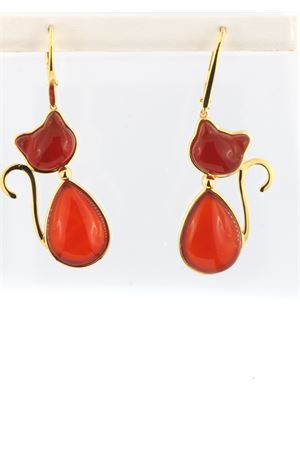 Cat pendant earrings in gilded silver and Carnelian Mediterranee Passioni | 48 | SAMMYCORNIOLAL