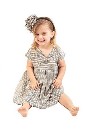 Black and white stripes dress for girl Orimusi | 5032262 | ORI153BBIANCO