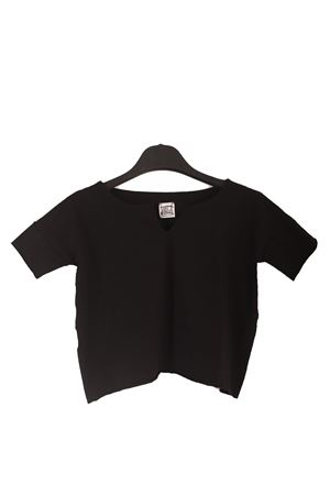 Black cropped t-shirt for baby girl  Orimusi | 8 | ORI504BNERO