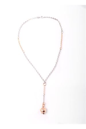 Long Necklace with  rosy quatrefoil Capri bell charms Pierino Jewels | 35 | 4002ROSATO