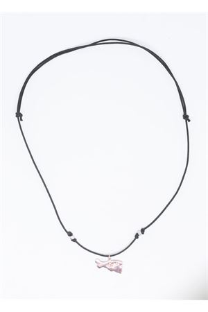 Rosy silver capri Island necklace with black lace  Pierino Jewels | 35 | 4008ROSA