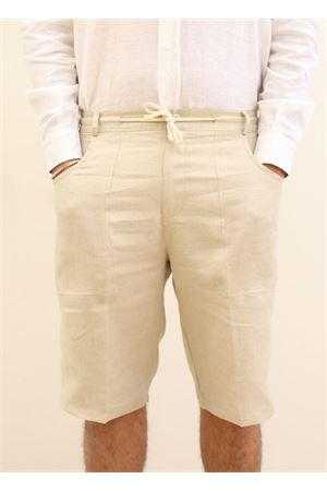 Long bermuda pants in linen  Scacco Matto | 5 | BERMUDALUNGOBEIGE