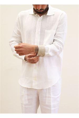 Camicia da uomo in lino bianco con contrasto Scacco Matto | 6 | CAMICIACOLLOBIBIANCO