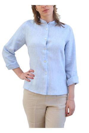 Camicia da donna in lino con collo alla coreana Scacco Matto | 6 | COREANA DONNAAZZURRO