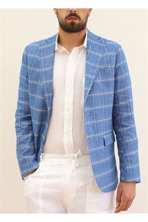 Light blue elegant linen jacket for man  Scacco Matto | 3 | GIACCALINOAZZURRO