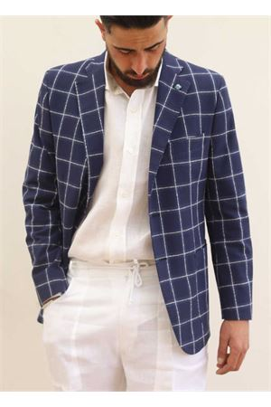 Blue linen jacket for man  Scacco Matto | 3 | GIACCALINOBLU