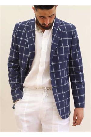 Giacca elegante da uomo in lino blu Scacco Matto | 3 | GIACCALINOBLU