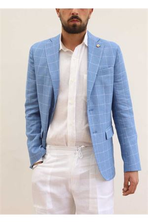 Light blue linen elegant jacket for men  Scacco Matto | 3 | GIACCALINOCELESTE