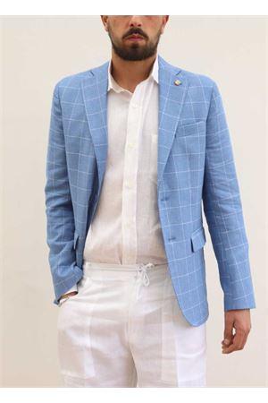 Giacca elegante da uomo in lino celeste Scacco Matto | 3 | GIACCALINOCELESTE