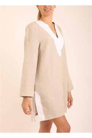 Beige and white linen tunic for woman  Scacco Matto | 5032233 | TUNICACORTABEIGE