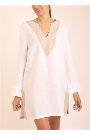 White and beige linen tunic for women Scacco Matto | 5032233 | TUNICACORTABIANCA