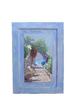 Oil on ancient door depicting a Capri view  Antonio Palomba | 20000003 | CECILIAPORTA30X50