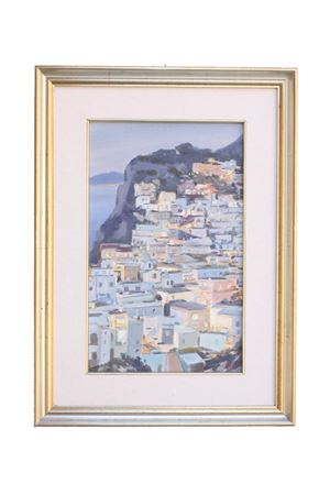 Oil on canvas, view of Capri by night  Antonio Palomba | 20000003 | PIAZZANOTTURNO25X35