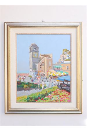 Piazzetta di Capri with flowers in spring time, oil on canvas  Antonio Palomba | 20000003 | PIAZZETTAFIORI40X50