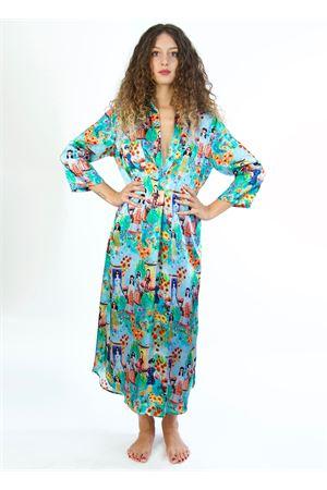 vestito lungo in seta con fantasia Capri Blanche Capri Couture | 20000033 | JACQUALINEBAMBOLINE