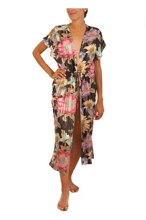 Black silk cover-up with flowers  Capri Chic | 3 | COPRICOSTUMEFIORINERO