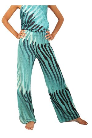 Jersey trousers with light blue pattern  Capri Chic | 9 | PANTAJERSEYFANTAMULTITURCHESE