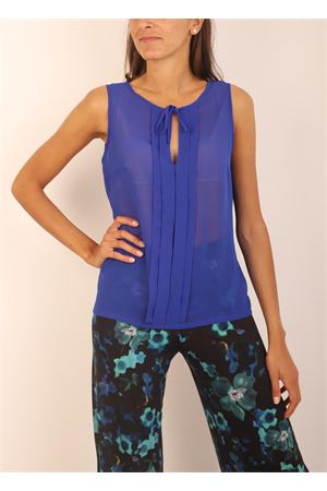 Blue t- shirt in georgette silk  Capri Chic | 8 | TSHIRTSMANICATABLU