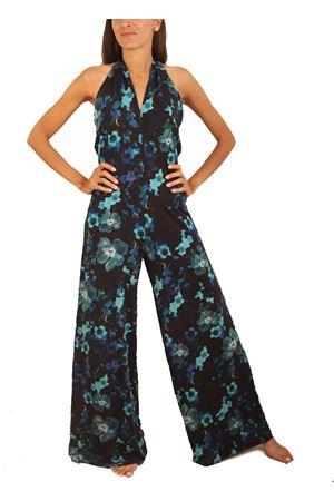 Long jersey floral pattern jumpsuit  Capri Chic | 19 | TUTAJERSEYFIORIFONDONERO