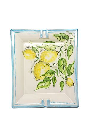 Ashtray in ceramic with lemons Ceramicapri | 20000006 | CENERIERALIMONIAZZURRO