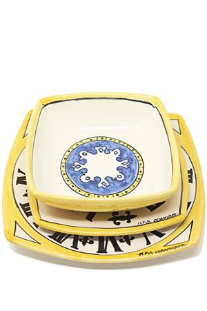 Dishes trio with Capri tower clock pattern  Ceramicapri | 5032235 | PIATTIDICAPRIGIALLO