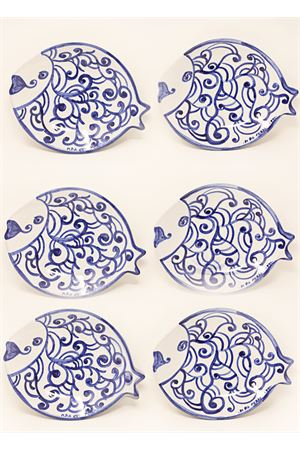 Set of 6 plates plus serving dish fish -shaped  Ceramicapri | 5032235 | PIATTIPESCEBLU