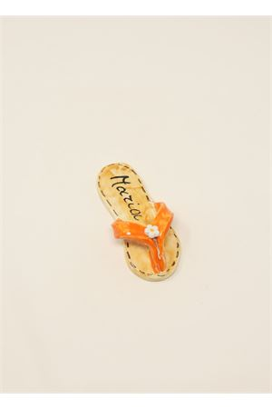 Orange ceramic magnet with capri sandal shape  Ceramicapri | 20000005 | SANDALETTIMAGNETEARANCIO