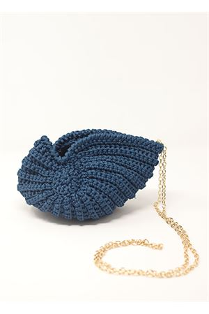 Shell-shaped crochet navy blue bag  Ceramicapri | 31 | SHELLBAGAZZURRODARK