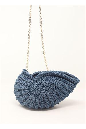 Borsa con traccolla in crochet a forma di conchiglia blu Ceramicapri | 31 | SHELLBAGPETROLIO