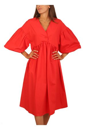 Dress with coral balloon sleeves Colori Di Capri | 5032262 | ABITOMANICALUNACORALLO