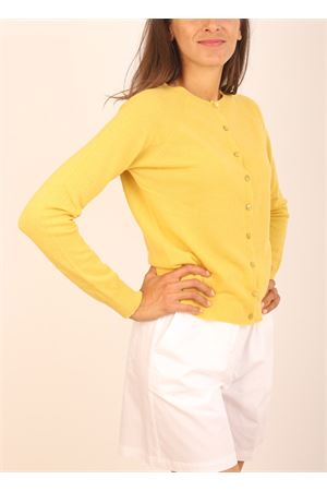mustard cardigan in cashmere and wool Colori Di Capri | 39 | CARDIGANBOTTONISENAPE