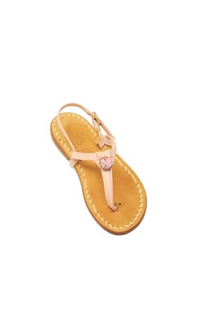 Pink sandals for baby girl with pink jewel Cuccurullo | 5032256 | PUNTOLUCEBABYROSA/ROSA