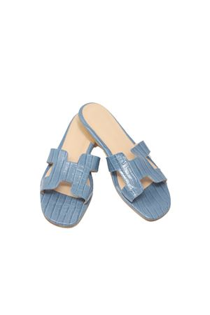 Sandali capresi non infradito color avio in pelle lavorata Da Costanzo | 5032256 | 2508AVION