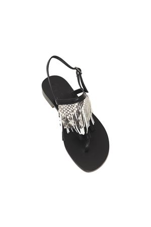 Black and phyton sandals with fringes Da Costanzo | 5032256 | 2852/CNEROPITONE