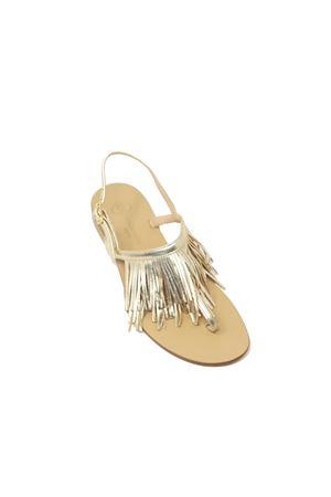 Sandali bassi dorati con frange Da Costanzo | 5032256 | 2852/CPLATINO