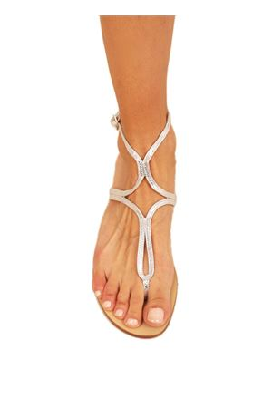 Sparkling silver leather Capri sandals  Da Costanzo | 5032256 | 2863/BRARGENTO