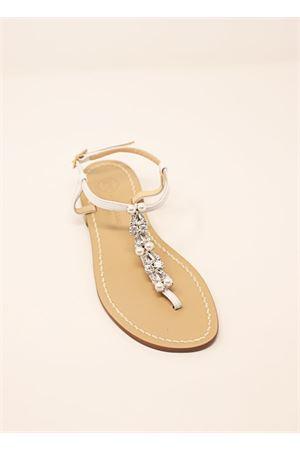 Capri sandals with jewel and pearls  Da Costanzo | 5032256 | DROP&PEARLSBIANCO