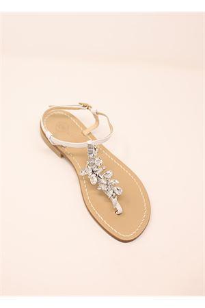 Bridal flat sandals with white jewel Da Costanzo | 5032256 | DROPCRYSTALBIANCO