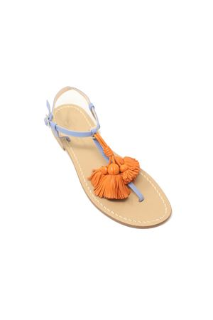 Light blue sandals with orange tassels Da Costanzo | 5032256 | NAPPINEGRAZZURROARANCIO