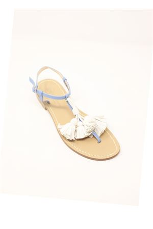 Light blue flip flops sandals with white tassels  Da Costanzo | 5032256 | NAPPINEGRAZZURROBIANCO