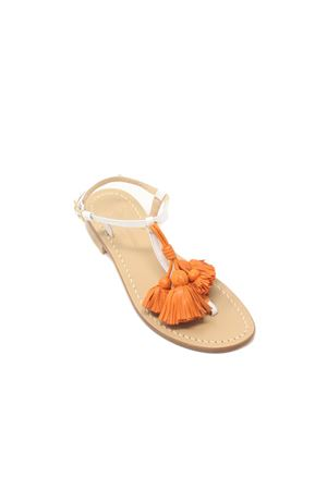 White sandals with orange tassels Da Costanzo | 5032256 | NAPPINEGRBIANCOARANCIO