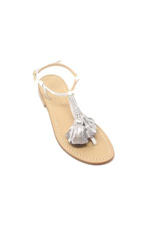 White sandals with silver tassels Da Costanzo | 5032256 | NAPPINEGRBIANCOARGENTO