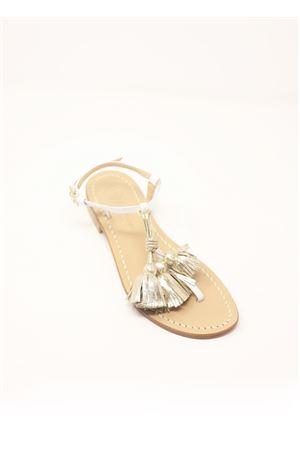 Sandali capresi con nappe Da Costanzo | 5032256 | NAPPINEGRBIANCOPLATINO