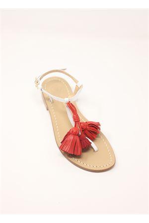 Sandali capresi con nappe rosse Da Costanzo | 5032256 | NAPPINEGRBIANCOROSSO