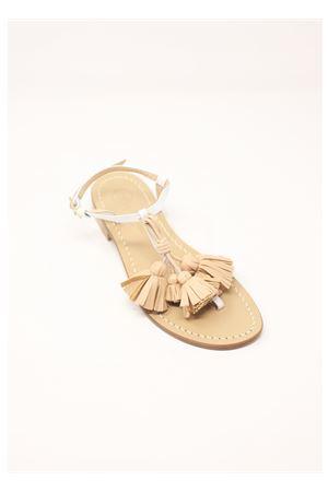 Sandali bianchi con nappe naturali Da Costanzo | 5032256 | NAPPINEGRBIANCOVACCHETTANATURALE