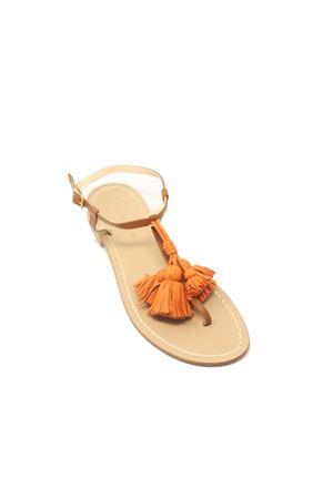 Sandali infradito cuoio con nappe arancioni Da Costanzo | 5032256 | NAPPINEGRCUOIOARANCIO