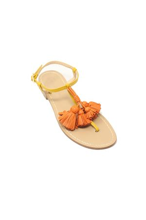 Yellow flip flop sandals with tassels Da Costanzo | 5032256 | NAPPINEGRGIALLOARANCIO