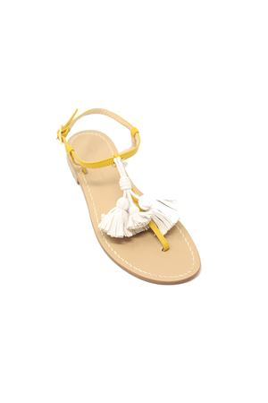 Yellow sandals with white tassels  Da Costanzo | 5032256 | NAPPINEGRGIALLOBIANCO