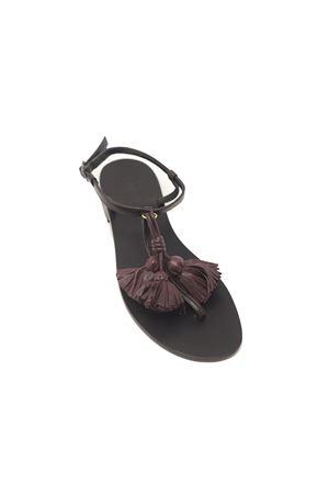 sandali donna neri con nappe viola Da Costanzo | 5032256 | NAPPINEGRNEROVIOLA