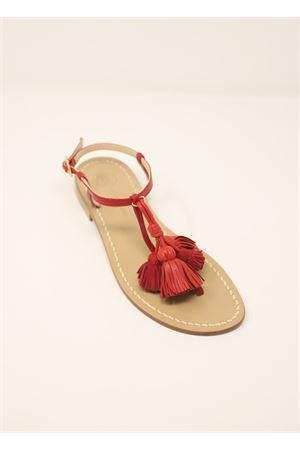 Red capri sandals with tassels  Da Costanzo | 5032256 | NAPPINEGRROSSOROSSO